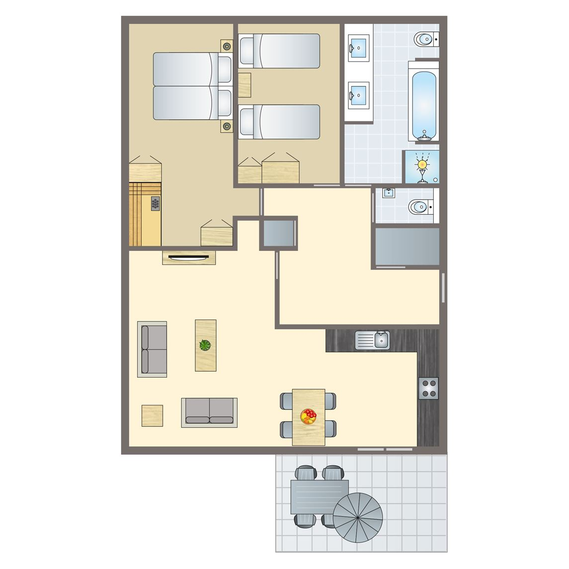 4-persoons terrasappartement